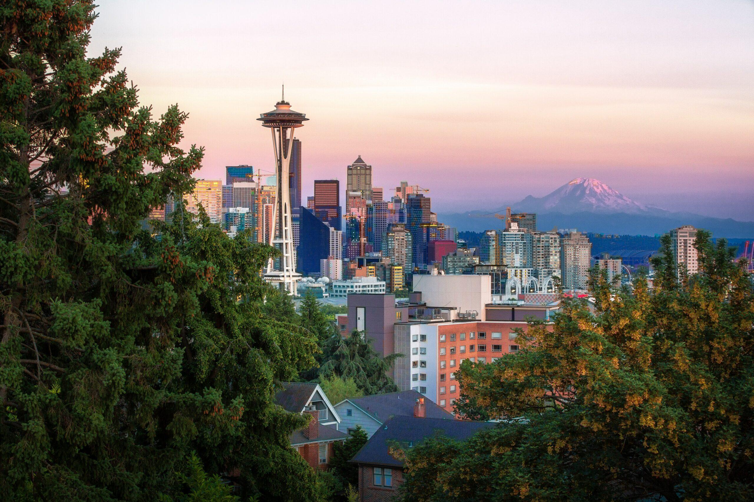 Seattle skyline sunset and Mount Rainier