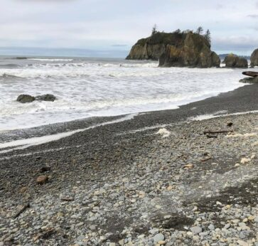 Ruby Beach, pebble shore with white foamy waves lapping the shore and light blue sky at dusk