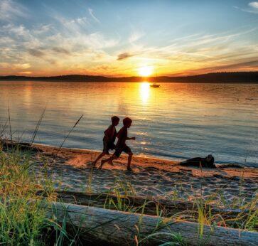 Lopez Island Edenwild kids sunset